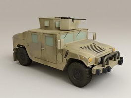 Military Humvee with Turret 3d model