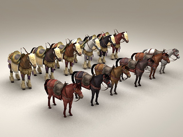 Medieval War Horses Collection 3d model
