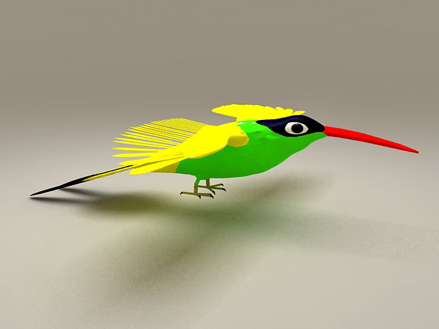 Yellow Hummingbird 3d model