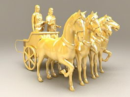 Roman Chariot With Driver 3d model