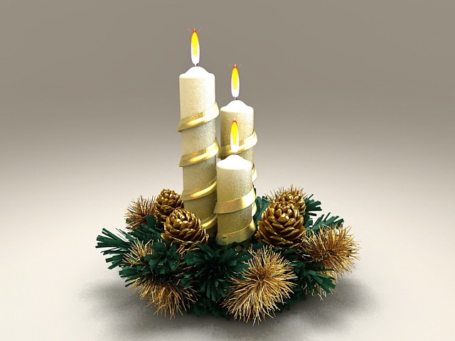 Beautiful Christmas Candles 3d Model 3ds Max Files Free