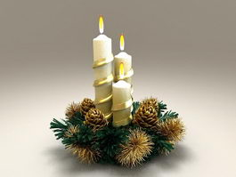 Beautiful Christmas Candles 3d model
