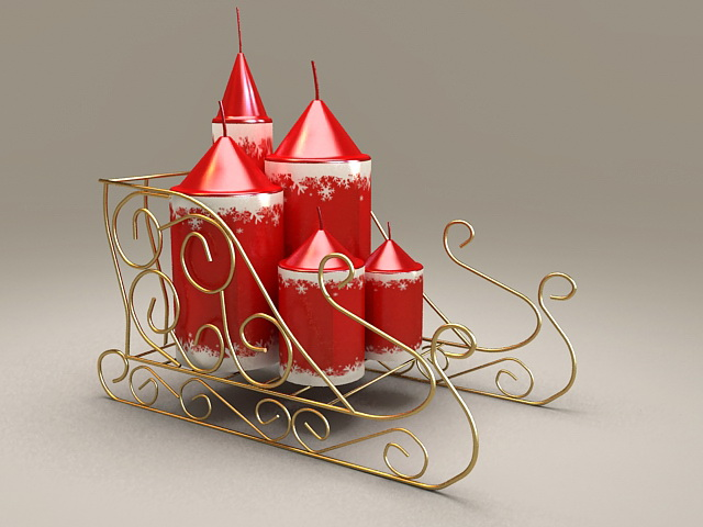 Christmas Candles with Rack 3d model