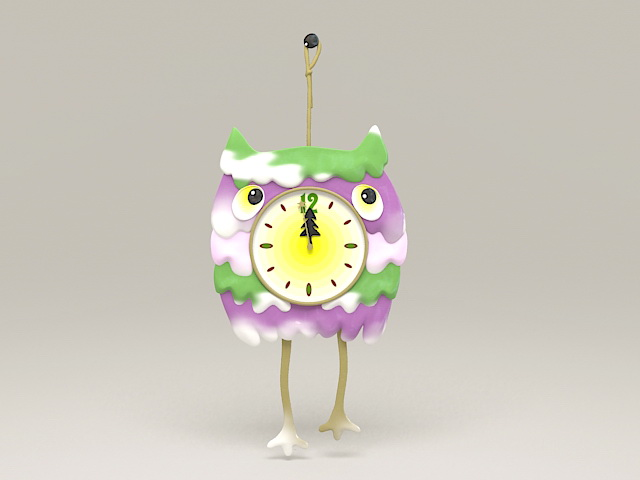 Owl Hang Clock 3d model
