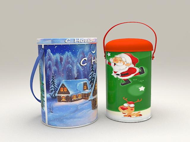 Christmas Cookies Buckets 3d model