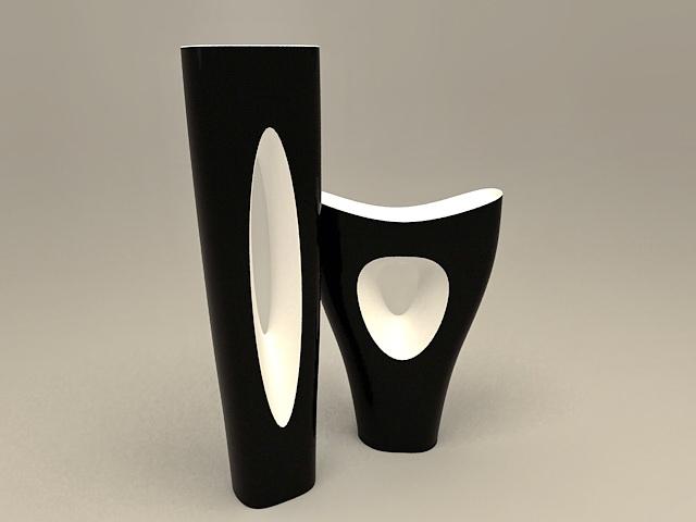 Black Vase Set 3d model