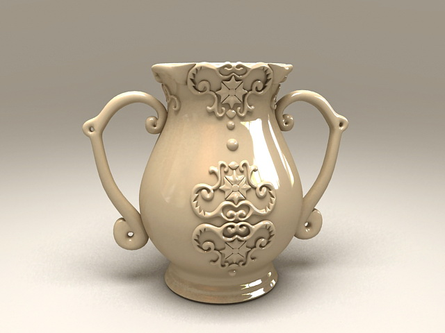 Art Deco Pottery Vase 3d model