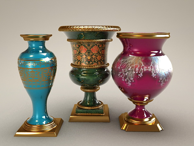 large decorative vases and urns 3d model - Decorative Vases