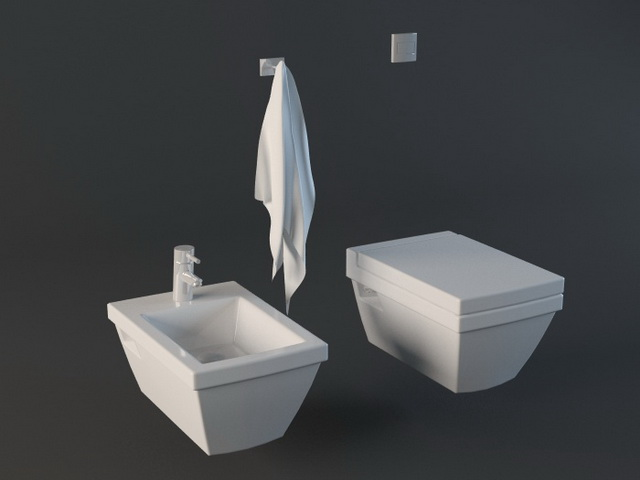 Toilet and Bidet Set 3d model