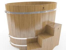Japanese Soaking Tub 3d model