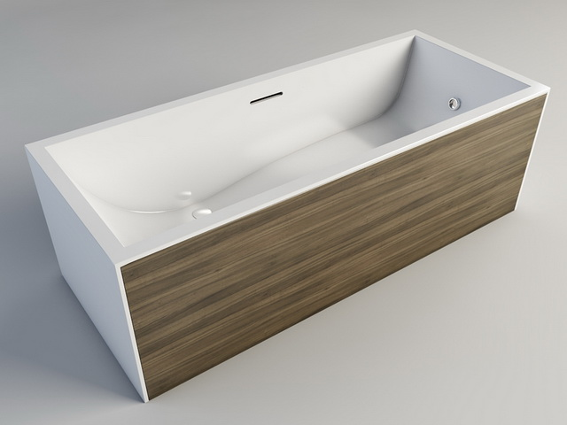Bathtub with Wood Surround 3d model