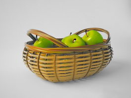 Green Apples with Basket 3d model