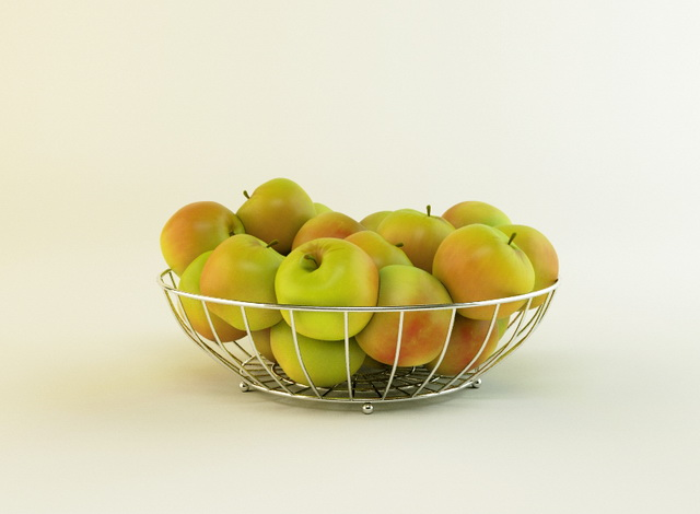 Apples with Wire Basket 3d model