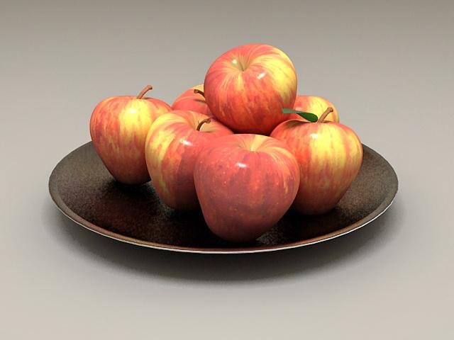 Apples On Plate 3d model