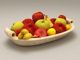Mixed Fruits On Plate 3d model