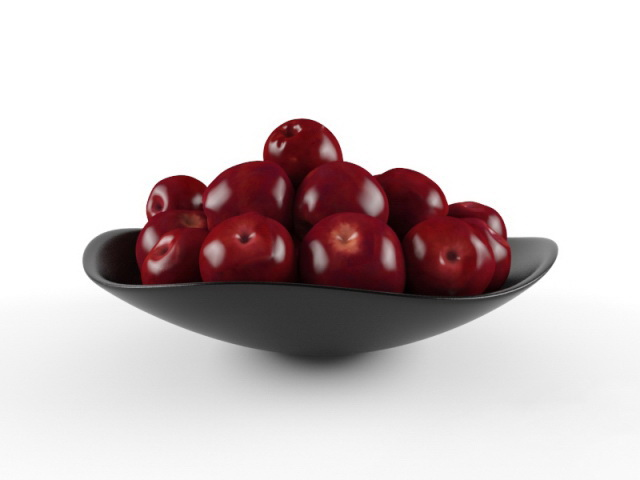 Red Plum On Plate 3d model