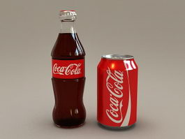 Coca-Cola Bottle and Can 3d model