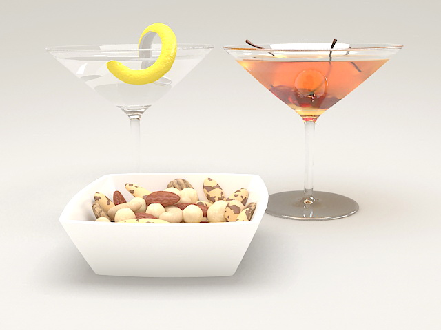 Snacks and Cocktail Drinks 3d model