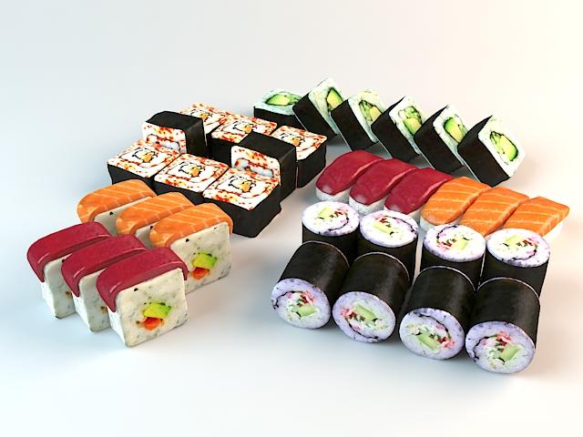 Japanese Sushi Set 3d model