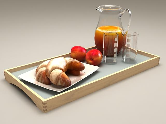 French Breakfast Set 3d model