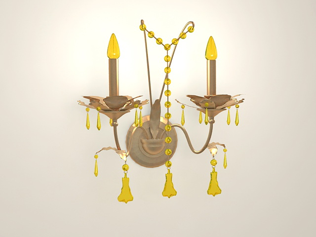 Vintage Brass and Crystal Wall Sconce 3d model