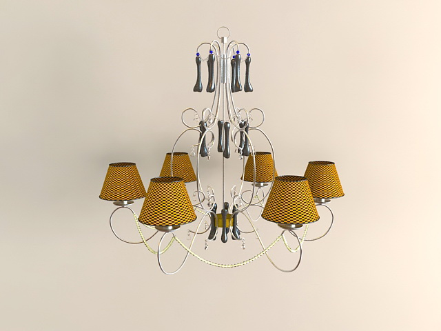 6-Light Chandelier with Shades 3d model