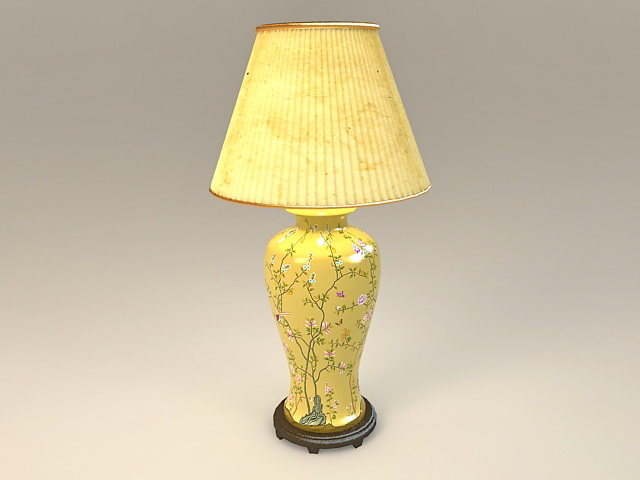Yellow ceramic table lamp 3d model 3ds max files free for Table lamp 3ds max