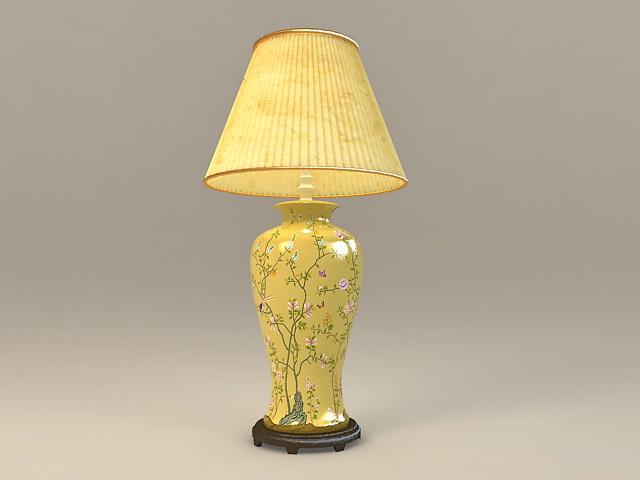 Yellow Ceramic Table Lamp 3d model