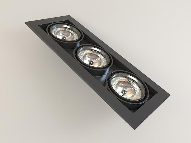 Recessed Multi Spot Light Fixture 3d model - CadNav