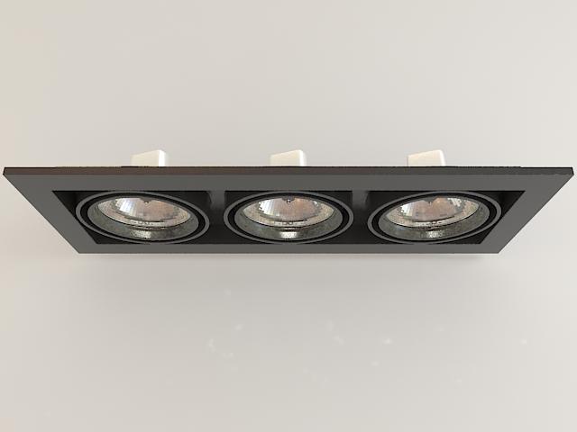 Recessed Multi Spot Light Fixture 3d model