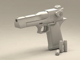 Desert Eagle and Bullets 3d model
