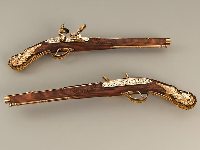 Doglock Flintlock Pistol 3d model