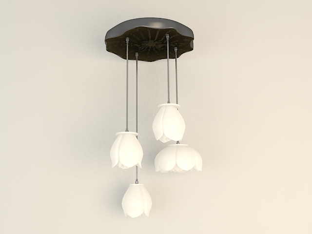 White Kitchen Pendant Light 3d model