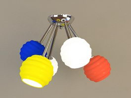 Colored Globe Pendant Light 3d model