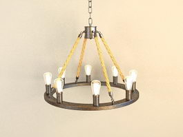 Rustic Industrial Chandelier Ring 3d model