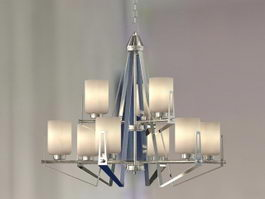 Modern Nickel Chandelier 3d model