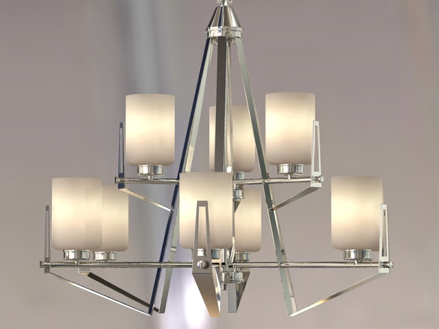 Modern Nickel Chandelier 3d model 3ds Max files free download ...