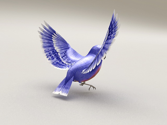 Blue Bird with Spread Wings 3d model