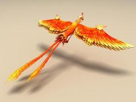 Red Phoenix Bird 3d model