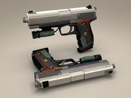 Pistol with Laser Sight 3d model