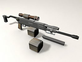 Barrett M98B with Cartridge and Scope 3d model