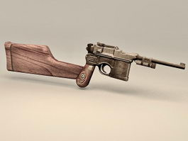 Vintage Pistol with Gun Stock 3d model