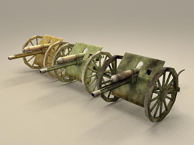Vintage Metal Cannons 3d model