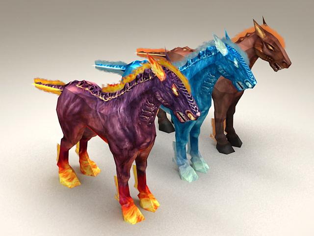 Fantasy Fire Horses 3d model