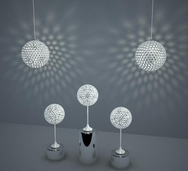 Modern Spherical Light Fixture Set 3d model