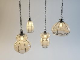 Vintage Hanging Light Set 3d model