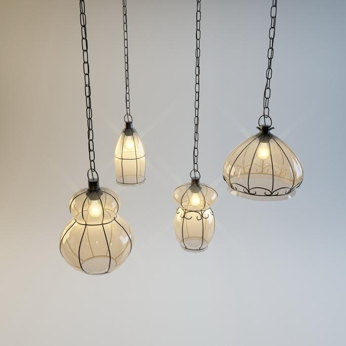 Vintage Hanging Light Set 3d model