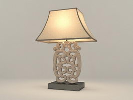 Carved Wood Table Lamp 3d model