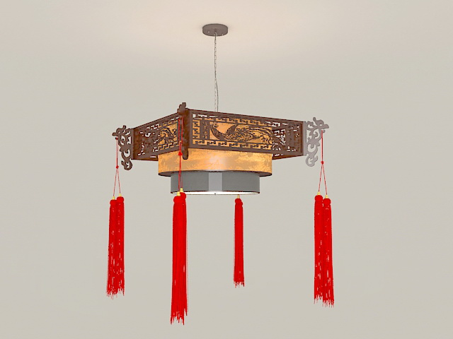 Chinese Style Antique Lantern Pendant Light 3d model