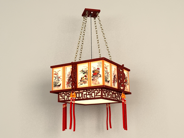 Antique Chinese Lantern Pendant 3d Model 3ds Max Files